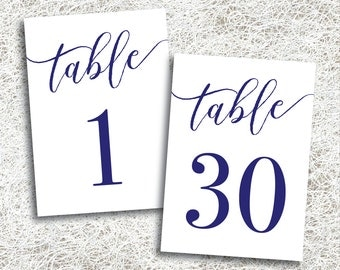 Printable Navy Wedding Table Numbers 1 - 30 | Instant Download | Printable Navy Table Numbers | Events Banquet | Navy Reception (FROST Set)