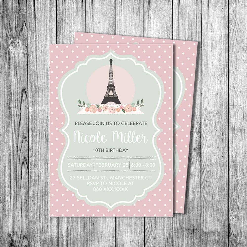 Similiar Eiffel Tower Birthday Invitations Keywords