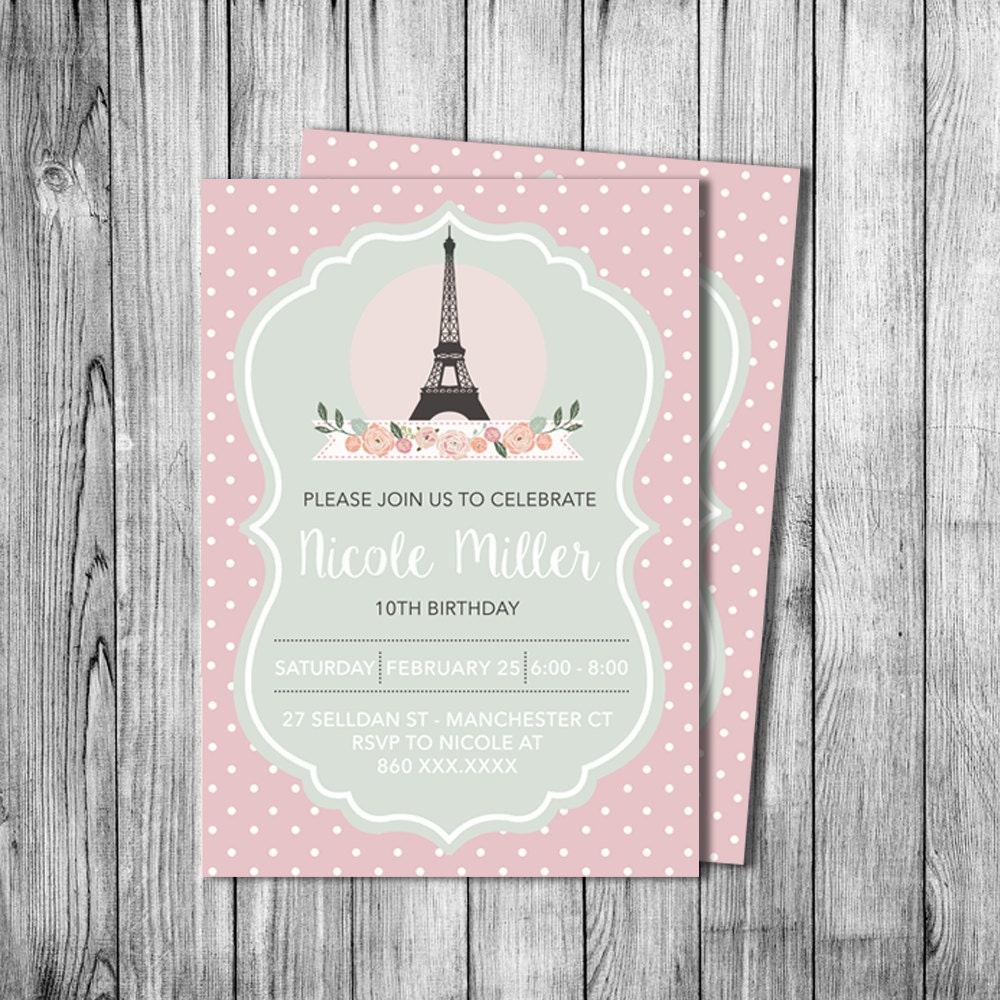Paris birthday invitation girl eiffel tower invite black white - Salon des seniors paris invitation ...