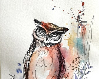 Owl mixed media print 11x15 in