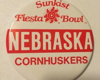 Sunkist Fiesta Bowl Nebraska Cornhuskers Pinback 1988