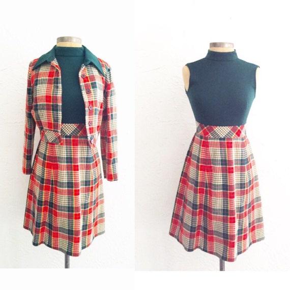 60s Nancy Drew Two Piece- Jacket and Dress, 70s Collar; Dress and Jacket Two Piece; Unique; Cotton; Turtleneck Dress; Mock Neck; S/M