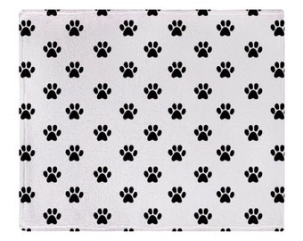 Paw Print White and Black Fleece Blanket - Pet Lover - Pet Blanket
