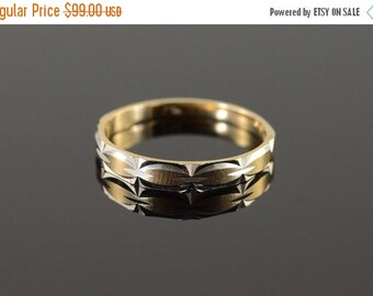 1 Day Sale 10K 4mm Fancy Engraved Wedding Band Ring Size 10.75 Yellow Gold