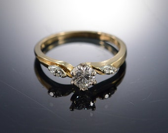 14K 0.41 Ct Heart H/VS2, 0.46 Ctw Vintage Diamond Engagement Ring Size 6.25 Yellow Gold
