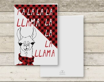 LLAMA CHRISTMAS CARD printable 5 X 3.5, with Red Plaid Pattern digital download