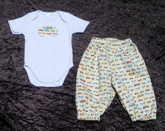 "Baby Boys transport harem pants outfit, 2 Piece outfit, sizes 3-6 months, ""READY TO SHIP"" Clothing for boys"
