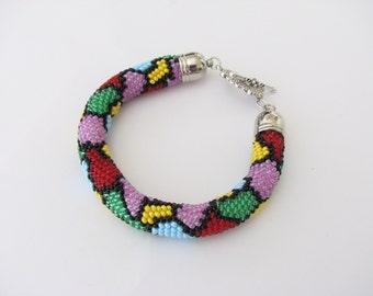 Bright summer bracelet. Sunny patchwork. Patchwork bracelet .Rope bracelet. Bead Embroidery Crochet bracelet SHIPPING is free