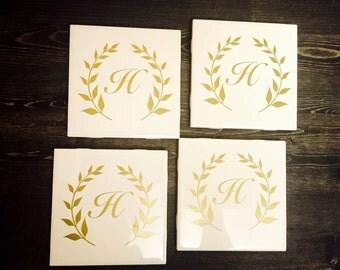 Personalized monogram coasters (set of 4)