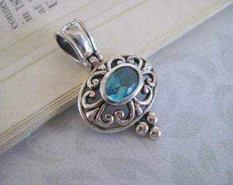 Sterling Silver Pendant, Sterling Silver Pendant Blue Stone,  Blue Stone Pendant, Jewelry Supplies