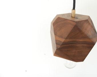 Geometric Walnut Faceted Block Pendant Lamp - Wood Pendant Light - Brass and Walnut - Minimalist and Modern Design - Lighting