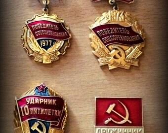 set of 4 Vintage Soviet badges; medals