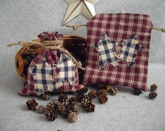 Drawstring Bag Country/Rustic/Primitive style Burgundy Plaid