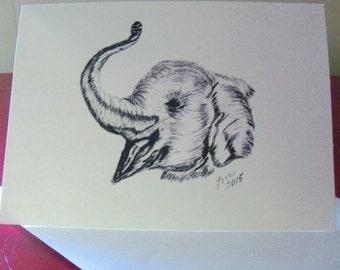 Elephant Note Card/Elephant Greeting Card  N13