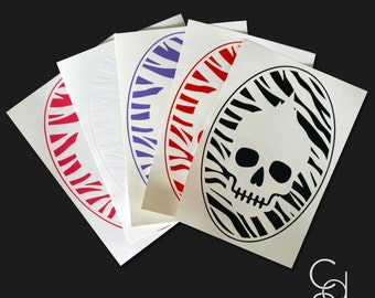 Zebra Skull Vinyl Decal- Available in Pink, White, Purple, Red or Black