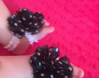 Vintage Inspired Black and White Polka Dots Handmade Infant Barefoot Sandals