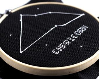Capricorn Zodiac Cross Stitch Pattern December January Cross Stitch PDF Astrology Personalised Gift Constellation Nursery Decor French Knot