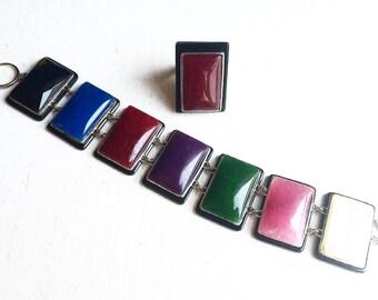 Vintage Sterling Silver Boho Interchangeable Ring & Sterling Silver Multi-Stone Link Bracelet ~ Fine Sterling Silver Jewelry