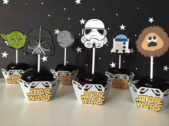 cupcake toppers star wars birthday party or baby shower decorations