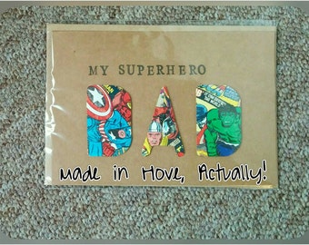 Superhero Dad card in manilla or white. Perfect for father's day or birthday. fathers day. Super hero.