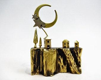 Bronze sculpture Greek island representation. Metal art. Gift Ideas. Home decor.
