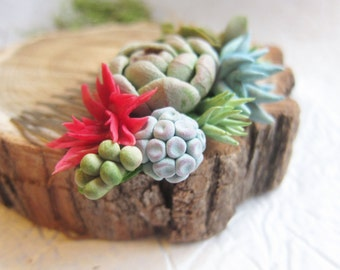 Succulent hair comb, wedding succulent, clay succulent, pendant succulent, bridal succulent, polymer clay, succulent hair accessory