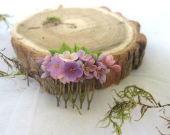Lilac blossom comb- bridal flower comb - blossom hair comb - wedding flower comb - bridal comb - flower hair accessory
