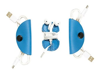 Cord Keeper (Cord Clam) and Headphone Wrap 3-Pack Handmade by Hide & Drink - Blue