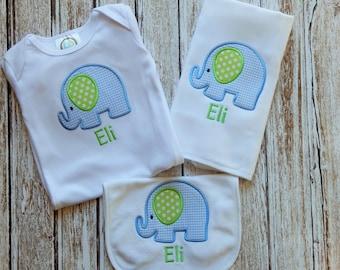 Baby boy gown, bib, burp; Baby boy gown; Baby boy 3 piece set; Infant boy shower gift; Baby boy burp cloth