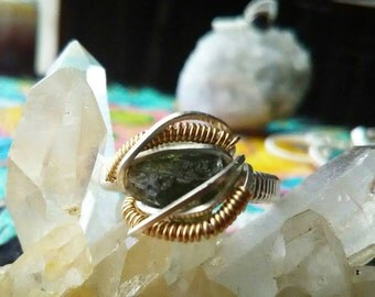 Moldavite Sterling Silver Wire Wrapped Ring with Gold/Silver/Moldavite/Wire Wrap/Ring/Stone