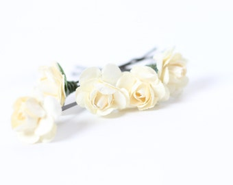 Ivory Flower, Hair Picks, Ivory Hair Pins, Paper Flower, Rose Bobby Pins, Bridal Hair Accessories, Bridesmaid Hair Pins, Wedding Bobby Pins