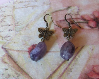 Amethyst drop earrings and antique brass Butterfly-Handmade