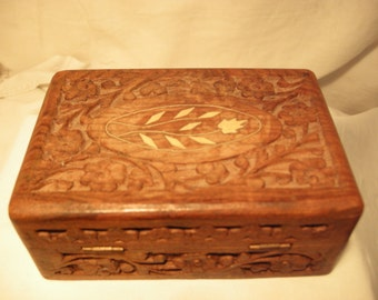 Vintage 1970's Handmade Hand Carved Wooden Jewelry Box