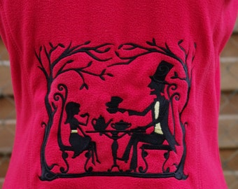 Womens fleece jacket SMALL - alice in wonderland, mad hatter, tea party