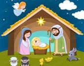 50% OFF SALE Nativity clipart - Christmas clipart