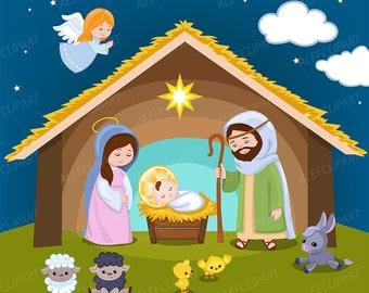 50% OFF SALE Nativity clipart - Christmas clipart