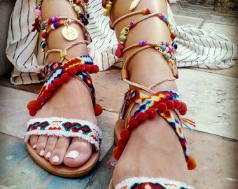 Now on SALE MAYARI leather knee high sandals