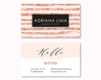 Business Card Design, Premade Business Card Template, Geometric, Lines, Modern, Minimalist, Minimal, Business Card, Rose Gold Business Card