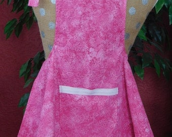 Girls Pink Apron --  3-7 yrs. old,  lined pocket with white trim