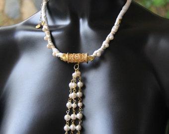whıte silk necklace,wedding,handmade,