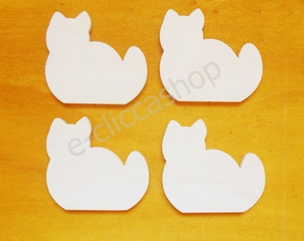 Silhouette cat wood for DIY 4 PZ