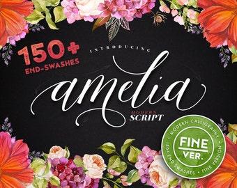 Script font - Amelia fine version. Modern calligraphy, dancing baseline, 150+ end-swashes.