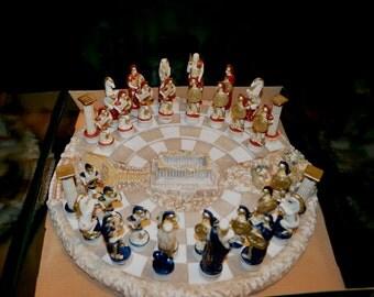 Chess set alabaster carved Acropolis battle board and red blue warrior figures