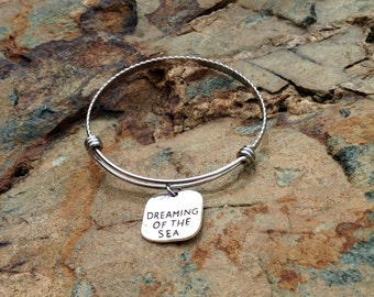 Dreaming of the Sea Charmed Bracelet - Expandable Silver Bangle Bracelet