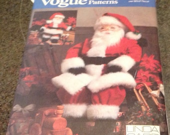 "Vogue Sewing Patten 7321 Large Santa Doll Small Santa Doll 49 "" 26 "" Suit Hat Linda Carr Christmas Holiday Craft"