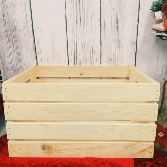 Rustic pallet wood crate storage crate toy by for Pallet dog crate