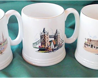Famous Landmark Scenes of UK Lord Nelson Mugs,Buckingham Palace, Tower Bridge and Nelsons column in Trafalgar Square