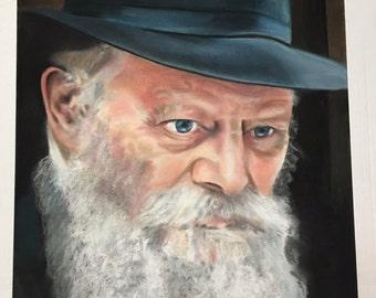 28 x 44 Illustration Rabbi Menaḥem Mendel Schneersohn Chalk Pastel Made in Mexico