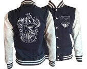 Vintage style Harry potter Inspired Ravenclaw House varsity jacket with silver emblem in front and back.  Amazing!