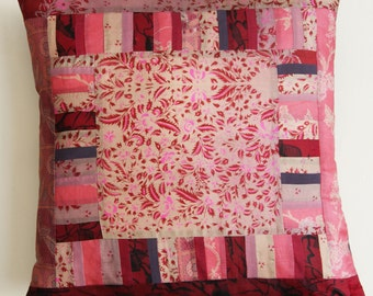 Pink patchwork silk cushion